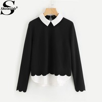 Sheinside Contrast Collar And Hem Scalloped Women Blouses 2017 Color Block Long Sleeve Elegant Tops Ladies Work Blouse