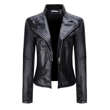 Women Black Faux PU Leather Motorcycle Bomber Jackets Zippers Coat