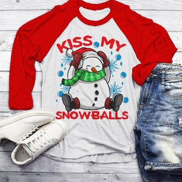 Men's Funny Christmas Shirt Kiss My Snowballs Christmas T-Shirt Snowman Shirt Offensive Christmas Shirt 3/4 Sleeve Raglan
