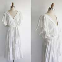 Vintage 70s Bohemian Dream Cotton Maxi Dress | medium large