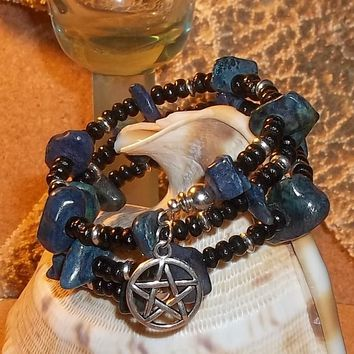 Wiccan Natural Lapis Lazuli and Black Wooden Beaded Hand Crafted Wrap Bracelet