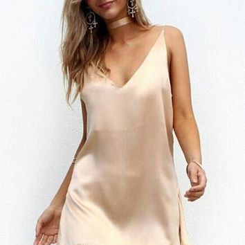 Women Summer Spaghetti Strap Slip Dress V Neck Satin Mini Dresses 2017 Party Beach Vestidos strand jurk