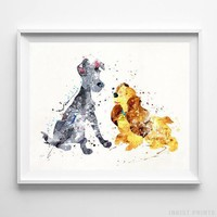 Lady and the Tramp Type 3 Wall Art Disney Watercolor Poster Nursery UNFRAMED by Inkist Prints