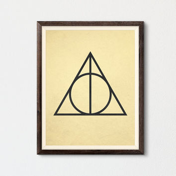 Deathly Hallows Printable, Harry Potter Poster, Master of Death Poster, Harry Potter Fan Art Gift, Harry Potter Print, Geometric Art Print