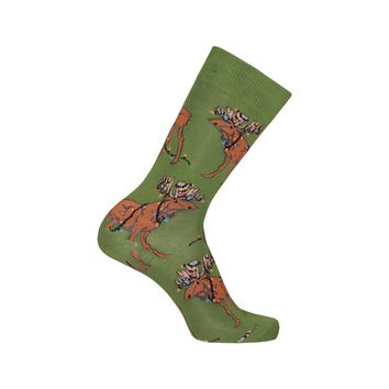 Tangled Moose Crew Socks in Parrot Green