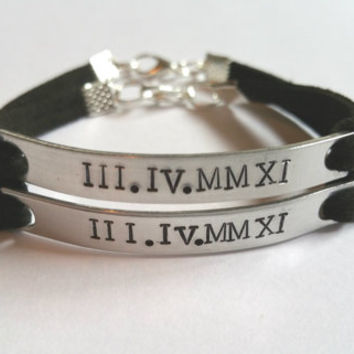 Personalized Couples Bracelet, His and Hers Bracelet, Hand Stamped Roman Numeral Bracelet, Wedding Date Bracelet, Anniversary Bracelet