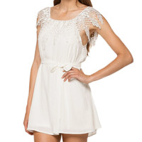 White Off Shoulder Crochet Lace with Waist Tie Chiffon Mini Dress