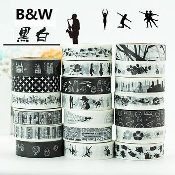 19Designs B&W Ballet/Love/Music/LACE/Flower Pattern Japanese Washi Decorative Adhesive DIY Masking Paper Tape Label Sticker gift