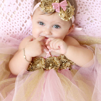 Gorgeous Pink and Gold Tutu Dress Shabby Chic Flower Tutu Dress for Baby Girl 6-12 Months First Birthday