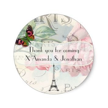 Vintage Paris Themed Wedding Party Pink Rose Classic Round Sticker