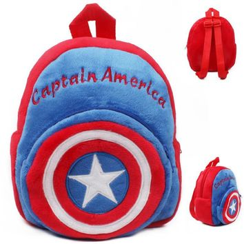 Soft plush backpack cartoon Captain America school bags kids cartoon schoolbag baby mini candy bags toys