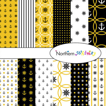 Digital Scrapbooking Paper Pack – nautical theme paper in black, white, & gold with anchors and ship helms – instant download – CU OK