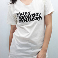 HANG's Day T Shirts Tee shirt Women/Unisex handmade silk screen printing  size S