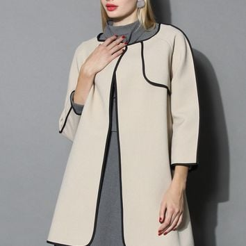Stylin' Attraction Nude Coat with Contrast Piping