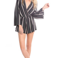 LONG SLEEVE CUT OUT STRIPED ROMPER