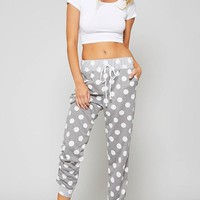 Polka Dot Joggers - Grey