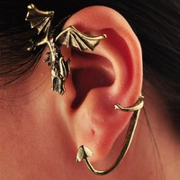 SALE! Steampunk Vintage Bronze Dragon Ear Cuff Clip Earring