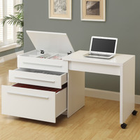 Computer Desk - White Slide-Out With Storage Drawers