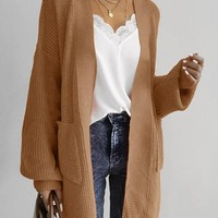 New Coffee Pockets V-neck Long Sleeve Oversize Cardigan Sweater