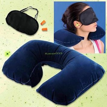Travel Kit Inflatable U Shaped Neck Pillow+eye Mask+Ear Plugs Grey And Blue Ostrich Pillow Cushion