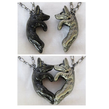 Wolf Love Necklace His and Hers Heart Kissing Couple