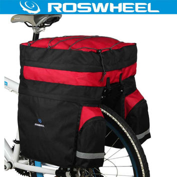 ROSWHEEL 60L Waterproof Mountain Road Bicycle Bike Bag Cycling Double Side Rear Rack Tail Seat Trunk Carrier Pannier Rain Cover