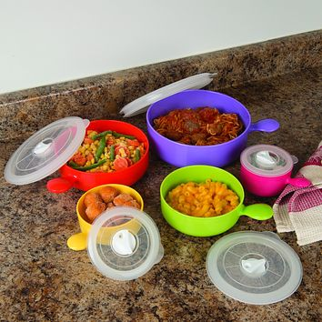 Evelots Deluxe Microwave Freezer Bowls W/ Lids, Food Storage Container