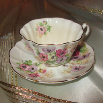 Vintage 1950 Victoria, Moss Rose, Fine Bone China Tea Cup and Saucer, Made in England