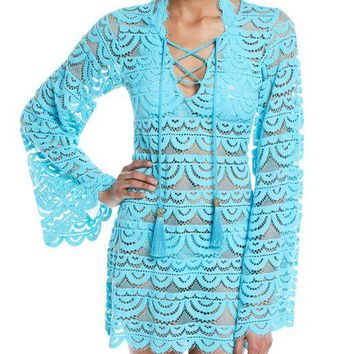 PILYQ Noah Lace Long-Sleeve Coverup Tunic Blue $125