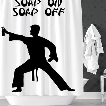 Soap On Soap Off Funny Shower Curtain
