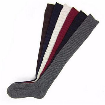 1 Pair Solid Colors Knitted Sexy Stocking Women Warm Thigh High Over the Knee Socks Fashion Ladies Stockings 6 Colors DP951395