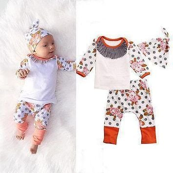 Newborn Baby Kids Girls Autumn&Winter Clothes Cotton Flower Print Polka Dots Long Sleeve Tops+ Long Pant+Hat Outfits 3pcs 0-18M
