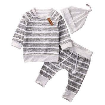 3pcs!! Baby Clothing Sets Autumn Baby Boys Clothes Infant Baby Striped Tops T-shirt+Pants Leggings 3pcs Outfits Set