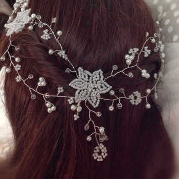 "Wedding Hair Vine,Tiara, headband,crown,bohemian, brow band,bridal ,flower girl, prom, festival ,french/victorian beaded flowers, 18""/46cm"