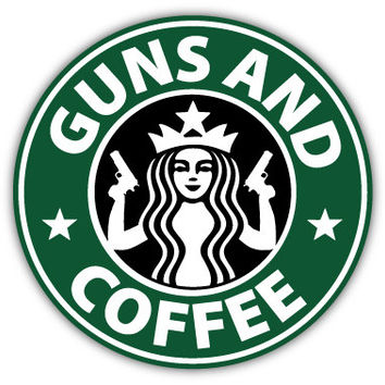 "Guns and Coffee sticker decal 4"" x 4"""