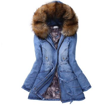 Winter Fur Trench Coats Denim Hoodies Parka Jackets for Women