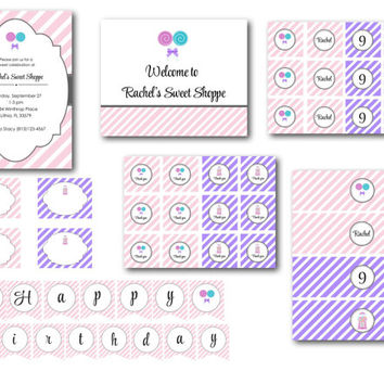 Lollipop/Sweet Shoppe Pink and Purple Birthday Party Collection
