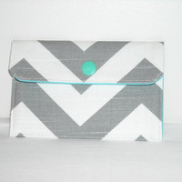 Fabric Mini Wallet- Business Card Case- Gray and White Chevron