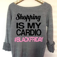 Shopping is My Cardio  - Black Friday - Ruffles with Love - Holiday Sweatshirt - Off the Shoulder Sweatshirt - Womens Clothing - RWL