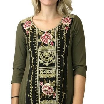 ICIKAB3 Johnny Was Vintage Military Green Leith Woven Panel Tunic