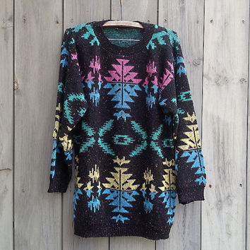 Vintage sweater | 90s neon oversized tribal print print slouchy pullover sweater