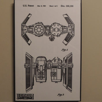 Star Wars Tie Bomber Patent Wall Art Poster