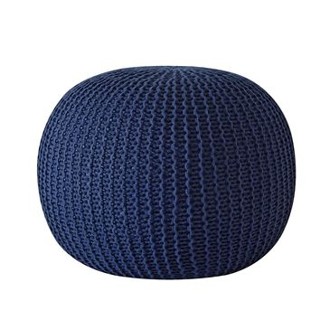 Hand Woven Round Knit Pouf
