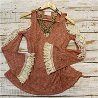 Heather lace tunic with tassel trim | TN1