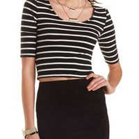Black Combo Striped Bar-Back Crop Top by Charlotte Russe