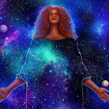 Fantasy Art / Galaxy Space Goddess / Woman Female Magic / Original Digital Illustration / Wall Print / Stars Planets Gift Decor