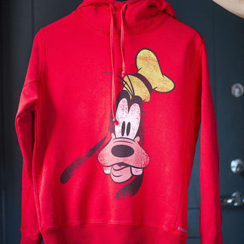Vintage girl's Goofy Hoodie. Red Sweatshirt 90s Disney Size XS. Teen Sweatshirt Hooded Dog Goofy Large Print. Hoodie fun animal cartoon