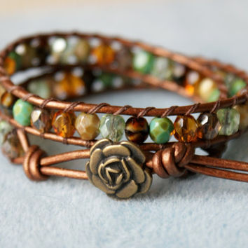 Earth colors Bohemian beaded leather wrap bracelet, double wrap, boho shabby chic, Chan Luu, brown, green, picasso, flower,  turquoise