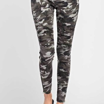 Camo Print Moto Stretch Jeans, Two Colors