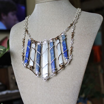 Lapis & Selenite Necklace - Statement Necklace - Hippie Festival Fashion - Gypsy Jewelry - Stone Jewelry - Chest Plate - Collar Necklace